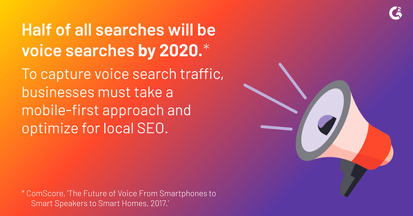 According to a 2017 ComScore report, half of all searches will be voice searches by 2020. To capture voice search traffic, businesses must take a mobile-first approach and optimize for local SEO.