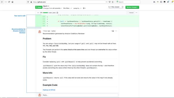 example of Amazon CodeGuru annotations