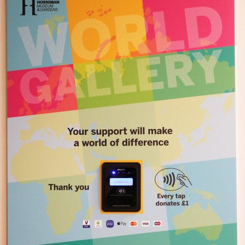 Image of contactless payment terminal at the Horniman Museum and Gardens.