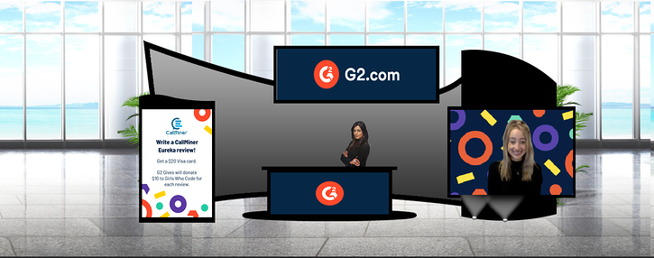 G2's virtual review booth at CallMiner's Listen Virtual 2020 event