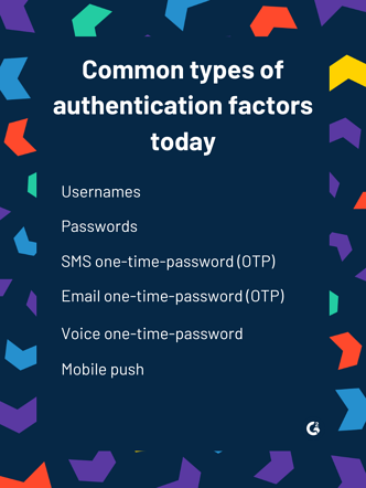 a graphic showing common types of authentication factors today, including usernames, passwords, sms one-time-password (OTP), email one-time-password (OTP), voice one-time-password, and mobile push