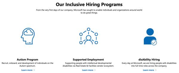 Fundamental principles of Microsoft's inclusive hiring program to create a neurodivergent workplace