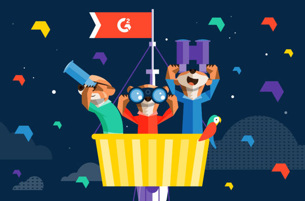 Graphic of three Montys in a watch tower searching for the best programmatic advertising and SPO with binoculars.