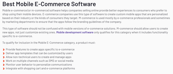 example of G2 software category definitions for mobile e-commerce software