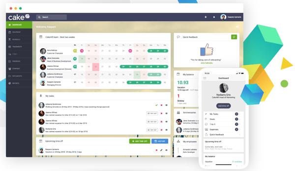 Screenshot of CakeHR user interface
