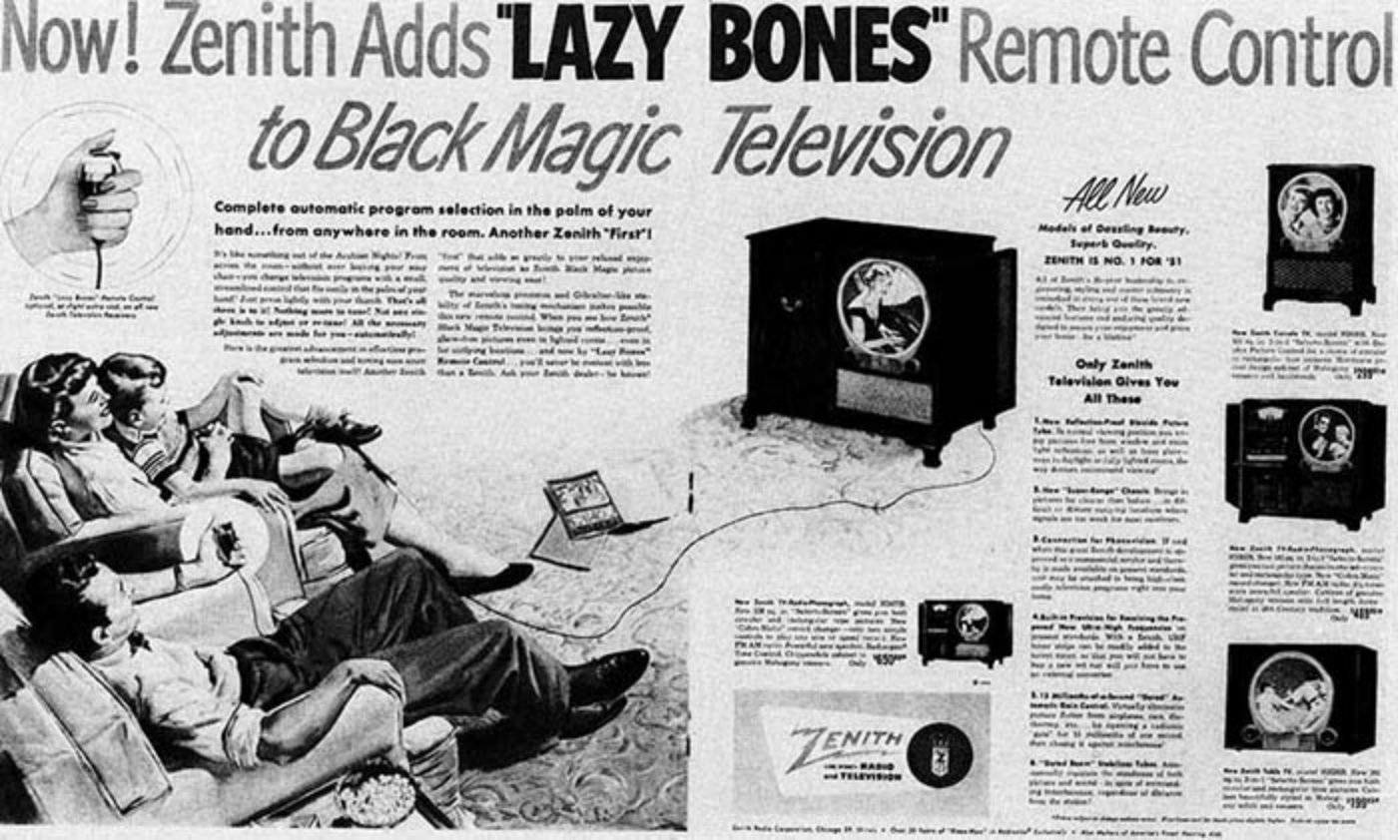A remote control ad for Zenith televisions