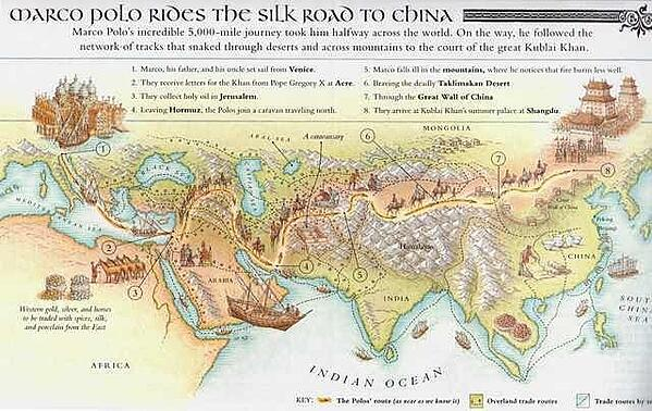 map depicting Marco Polo's journey through the Silk Road to China