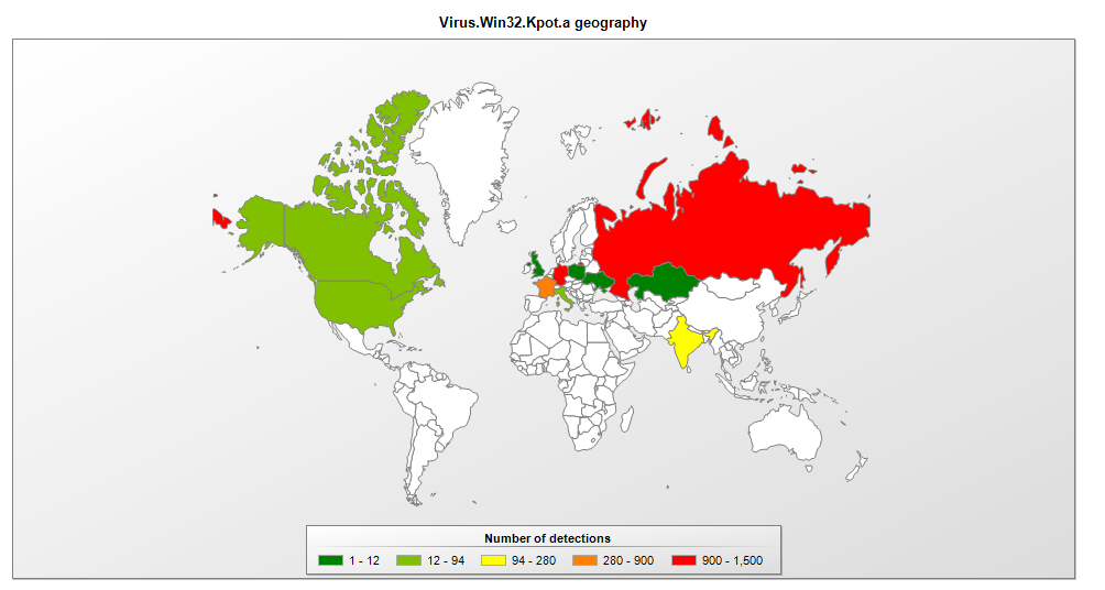 number of detections of the computer virus depicted on the world map