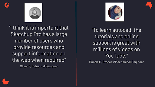 user reviews highlighting importance of how-to tutorials and discussion communities