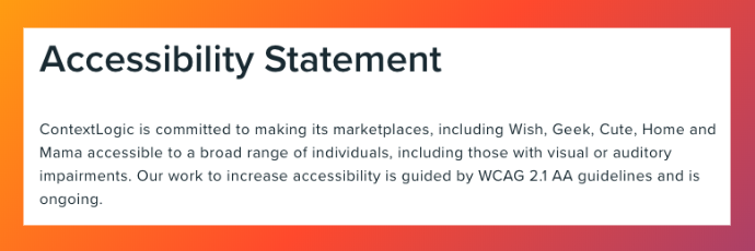wish.com accessibility statement